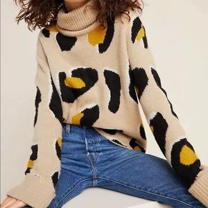Moth by Anthropologie Georgia Cheetah Sweater SZ L